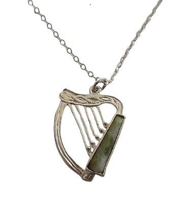 Vintage Assayed Jade Necklace Harp