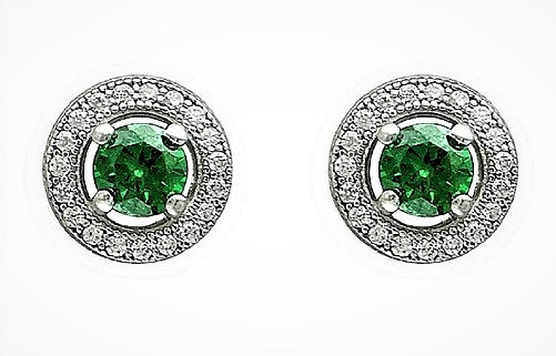 Sterling Silver Green Studs Round