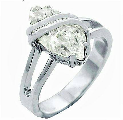 Assayed Silver Art Deco Ring Marquise Clear Solitaire CZ