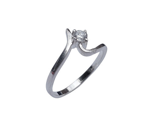 Assayed Sterling Silver Solitaire Ring Clear
