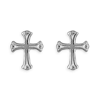 Real Silver Gothic Stud Earrings