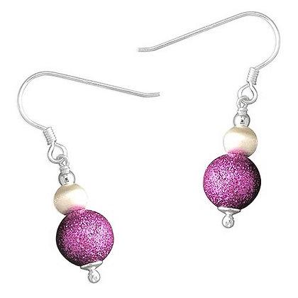 Sterling Silver Purple Dangly Earrings