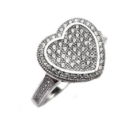 Assayed Silver Pave Ring Clear CZ Heart