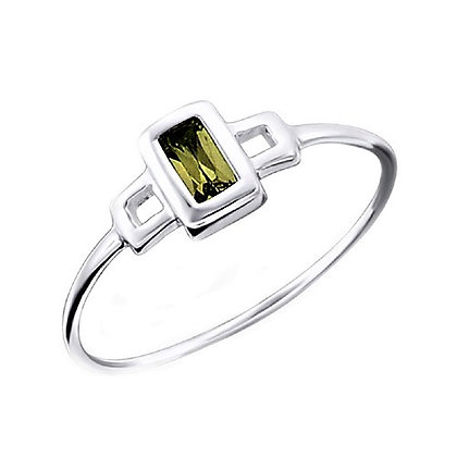 Assayed Silver Green Ring