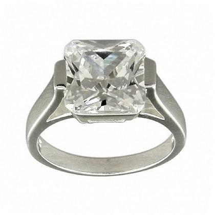 Assayed Silver Solitaire Ring Asscher CZ