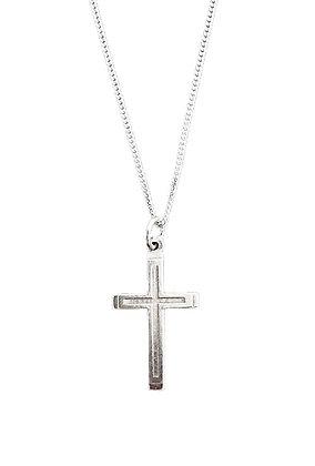 Plain Sterling Silver Cross & Chain