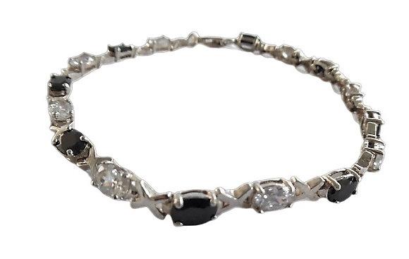 Assayed Silver Gemstone Bracelet Black Clear CZ
