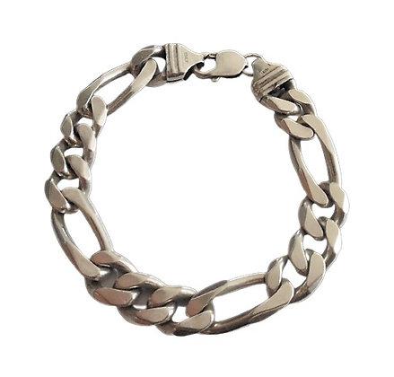 Assayed Gents Silver Bracelet Figaro 1 Oz +