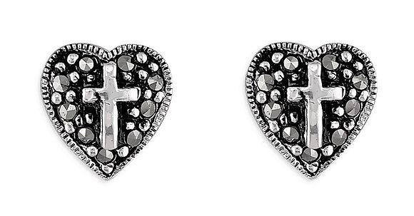 Sterling Silver Cross Heart Marcasite Studs