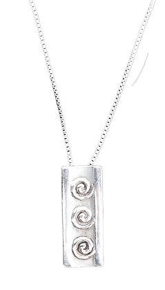 Vintage Sterling Silver Rectangular Necklace