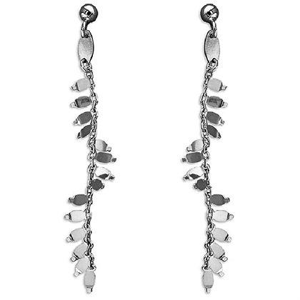 Sterling Silver Leafy Dangle Earrings