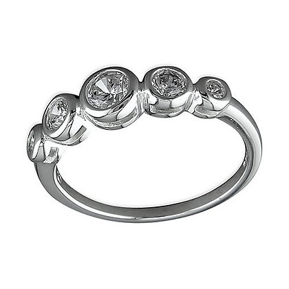 Assayed Silver Eternity Ring Clear CZ