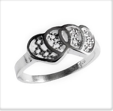 Assayed Silver Filigree Heart Ring Plain Hearts