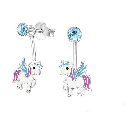 Winged Unicorn Studs Blue Crystal
