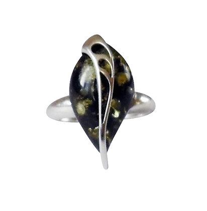 Assayed Green Amber Ring