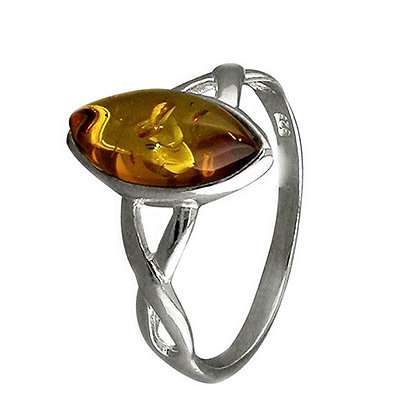 Assayed Silver Marquise Brown Ring