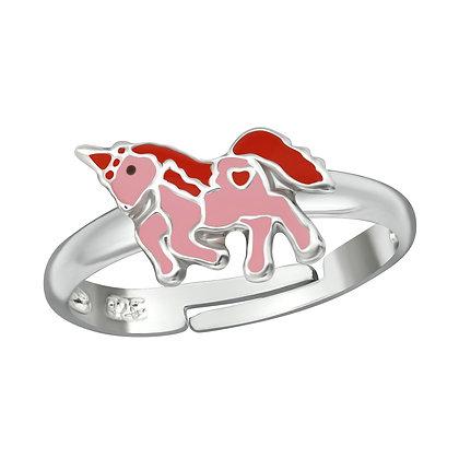Girls Sterling Pink Unicorn Ring