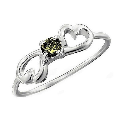 Assayed Silver Green Ring Hearts