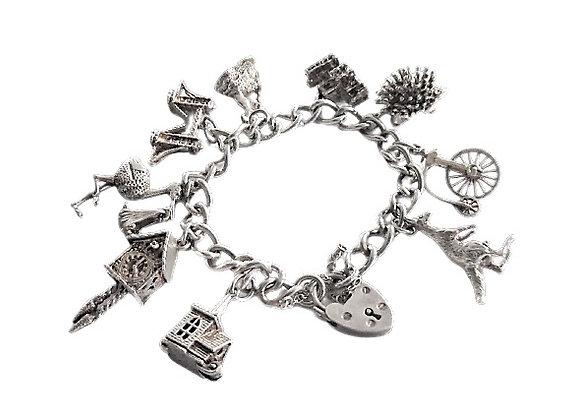 Vintage Assayed Heavy Silver Charm Bracelet
