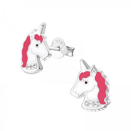 Pink Unicorn Head Earrings
