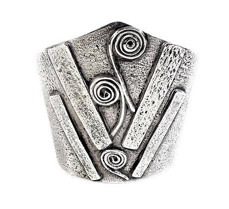 Assayed Vintage Designer Silver Heavy Bangle 2 Oz +