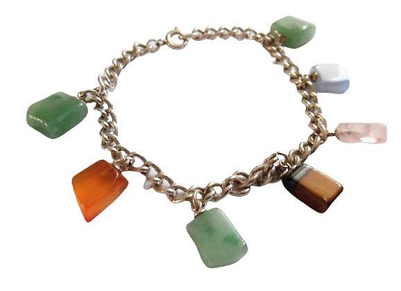 Vintage Sterling Charm Bracelet Multicolour