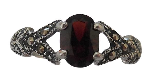 Assayed Garnet Marcasite Red Ring