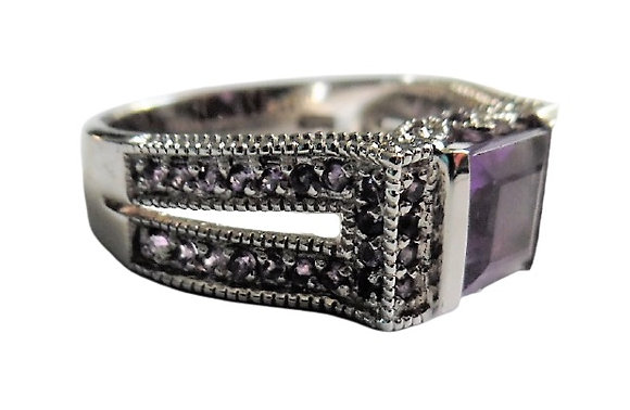 Chunky Sterling Silver Purple Ring