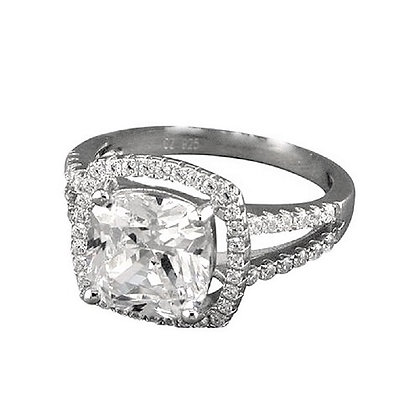 Assayed Silver Princess Cut Ring