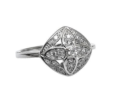 Assay Hallmarked Silver Ring Clear CZ Flower