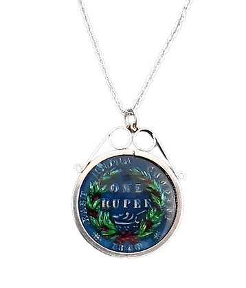 Sterling Silver 1840 One Rupee Coin Necklace