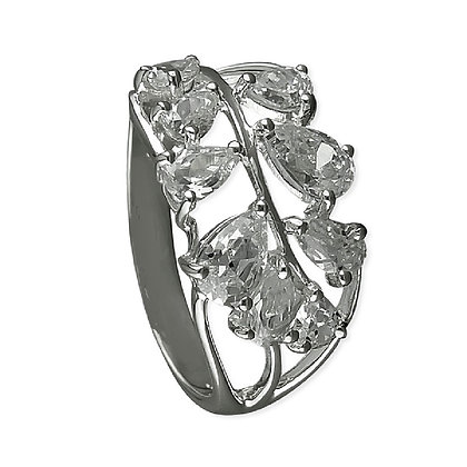 Assayed Silver Ring Pear CZ Clear