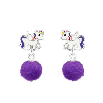 Sterling Silver Unicorn Head Dangle Earrings Purple