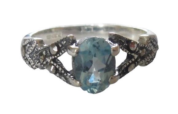 Assayed Blue Topaz Marcasite Ring