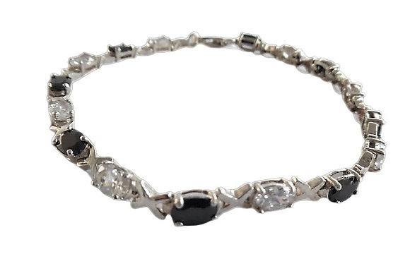 Assayed Silver Gemstone Bracelet Black Clear Zirconia
