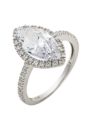Assayed Silver Marquise Ring Clear Zirconia