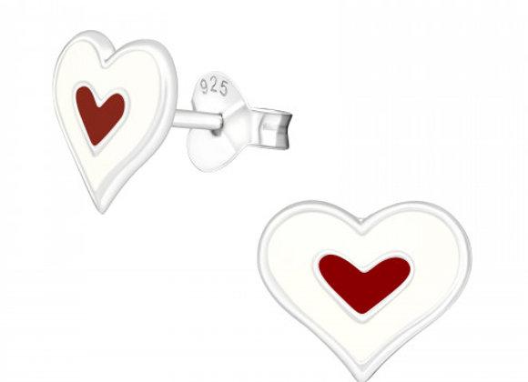 Sterling Red Heart Earrings