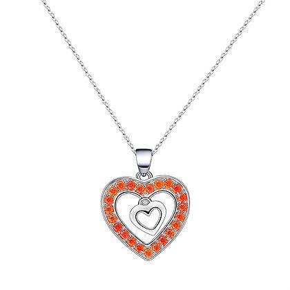 Sterling Silver Orange Necklace