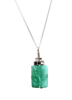 Sterling Silver Art Deco Green Jade Necklace