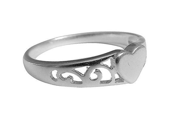 Assayed Silver Plain Heart Ring