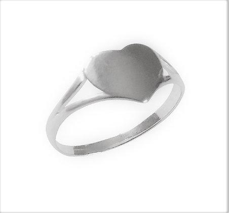 Assayed Silver Signet Ring Plain Heart