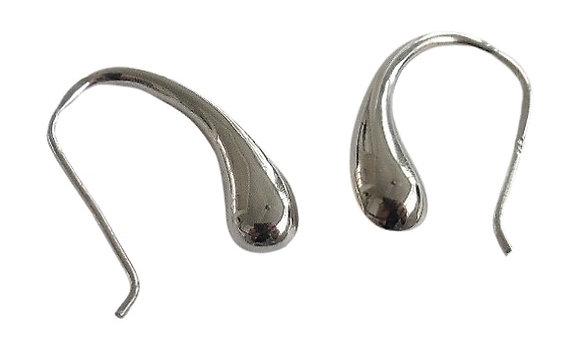 Modern Sterling Silver Half Creole Earrings Plain