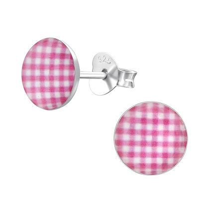 Pink Gingham Earrings