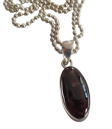 Brown Oval Sterling Necklace