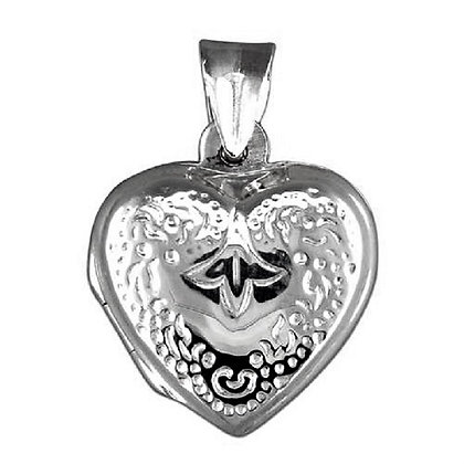 Assayed Silver Heart Locket Patterned