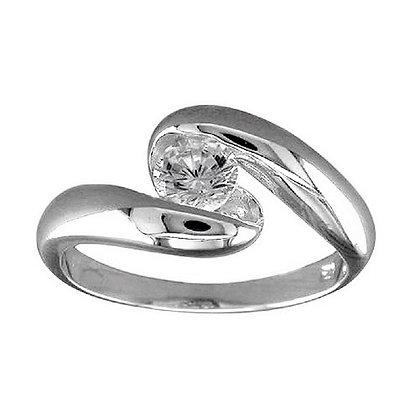 Assayed Silver Modern Ring Clear CZ