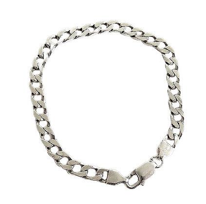 Assayed Gents Sterling Silver Flat Curb Bracelet