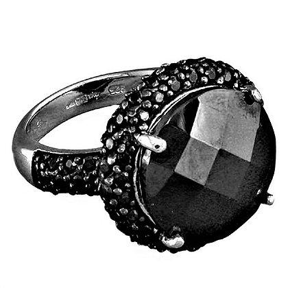 Assayed Silver Black Ring