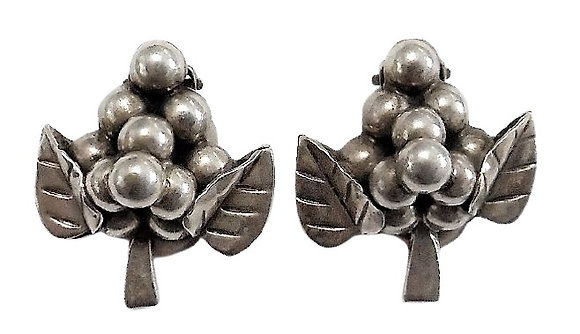 Vintage Chunky Sterling Silver Earrings Grapes