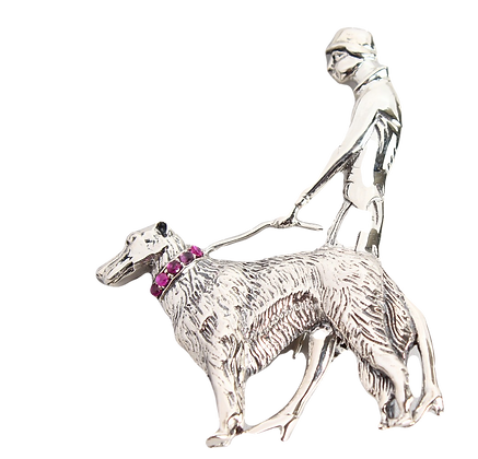 Art Deco Silver Brooch Lady With Dog
